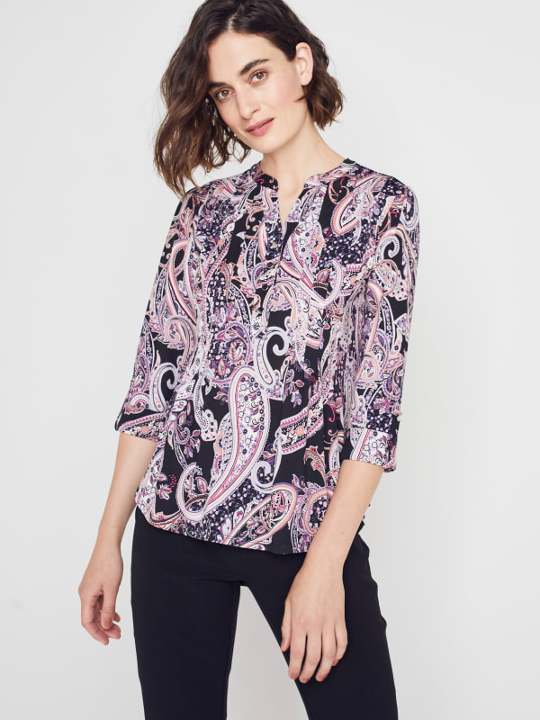 Roz & Ali Floral Paisley Pintuck Popover