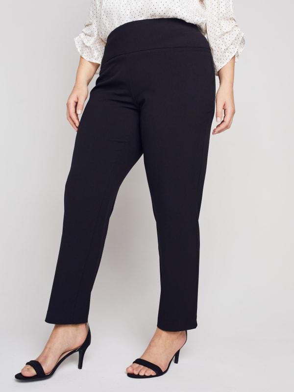 Roz & Ali Secret Agent Slim Leg Wide Waistband Pants - Plus
