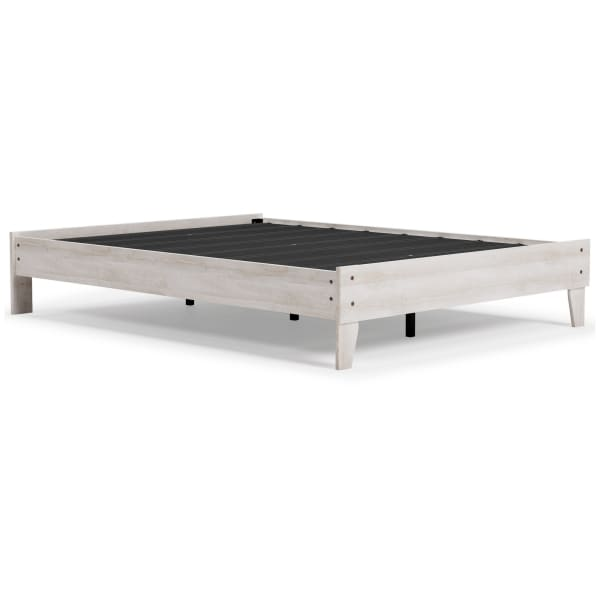 Queen Platform Bed with Grain Design, Washed White