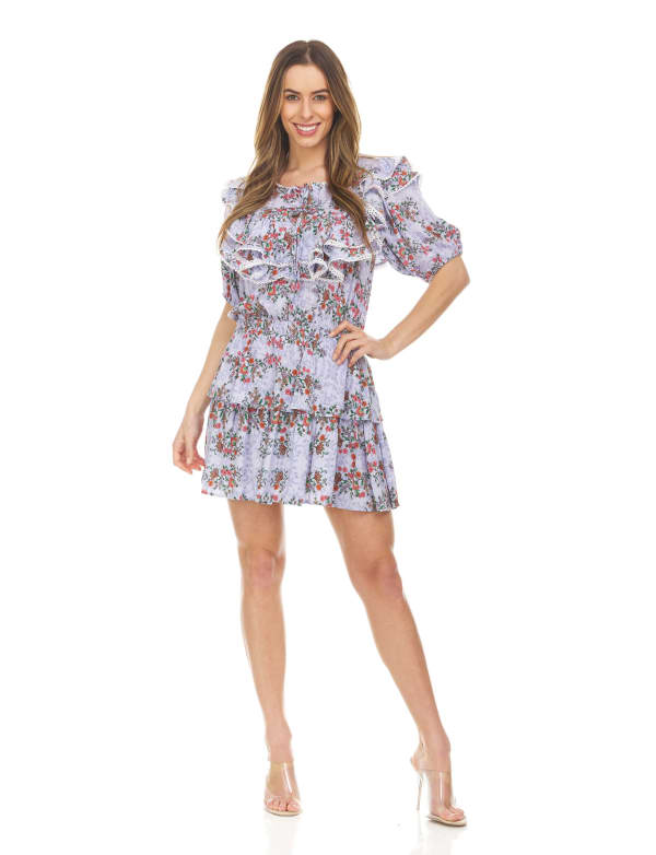 Printed Scarf Patch Work With Short Sleeves Mini Dress