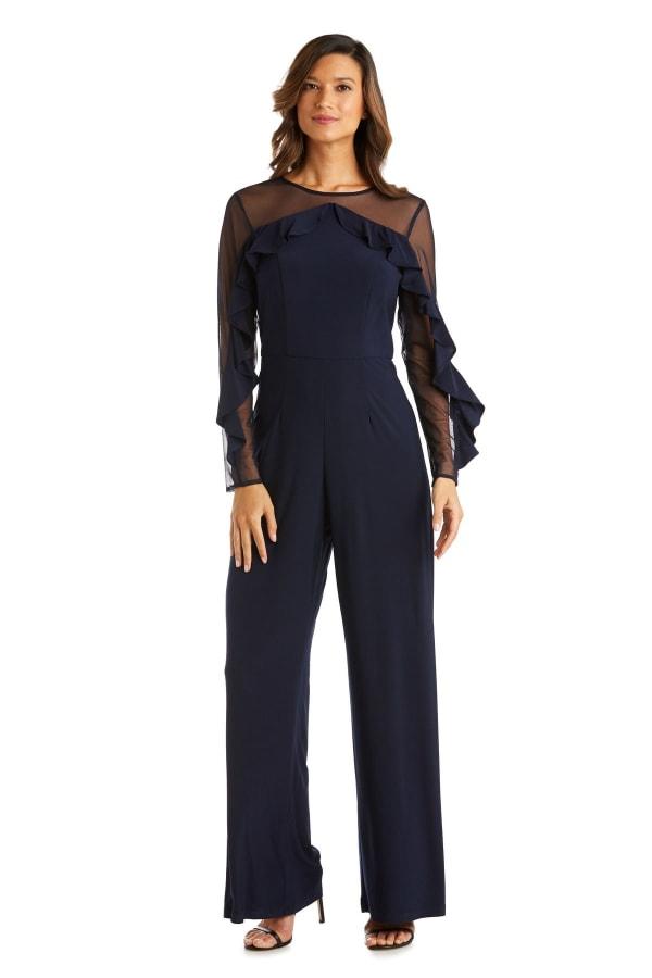 Long Sleeved Sheer Panel Ruffle Jumpsuit