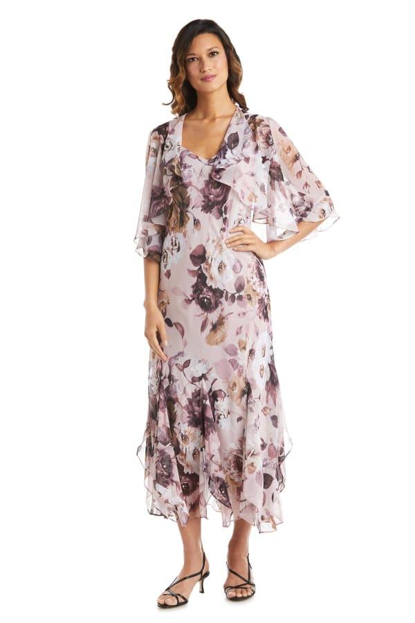 Rose Chiffon Floral Lurex  Jacket Dress