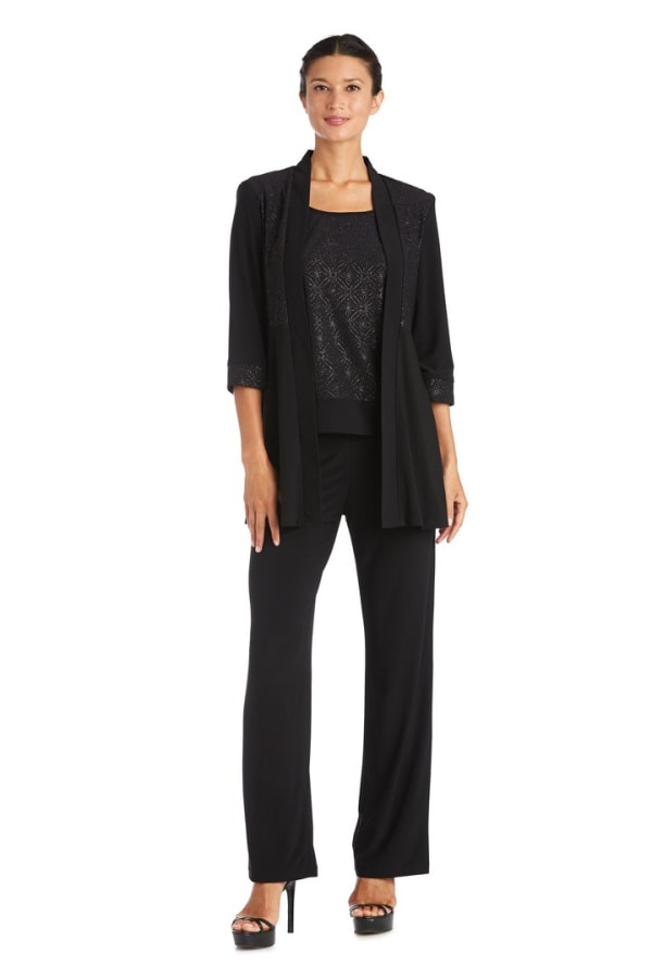 2-Piece Pant Set with Lace Printed Jacket Detail