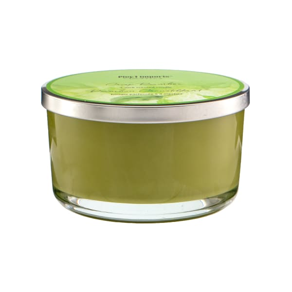 Pier 1 Crisp Bamboo Filled 3-Wick Candle 14oz