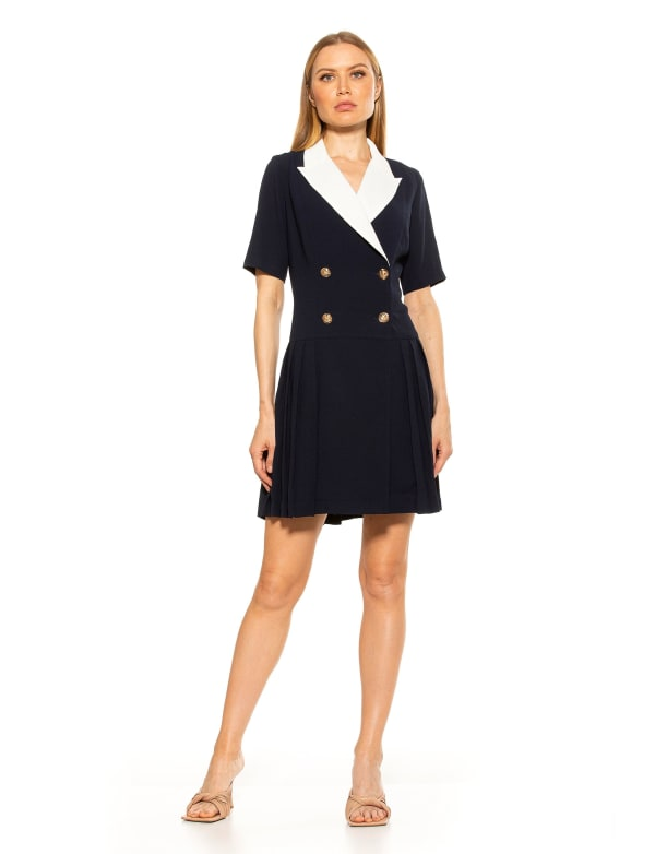 Short Sleeve Dropped Waist Fit & Flare Collared Dress