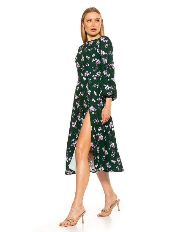 Boatneck Fit & Flare With Bubble Sleeves Dress