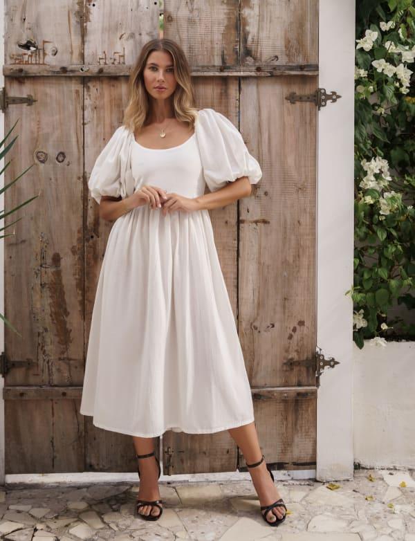 Cherie Puff Sleeve Linen Midi Dress - Plus