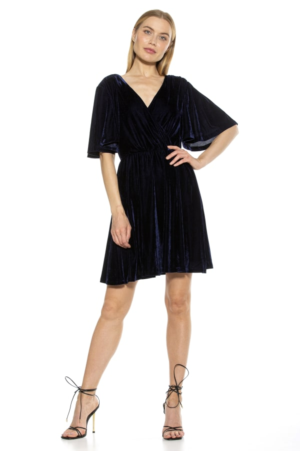 Oakless Flutter Sleeve Fit And Flare Dress