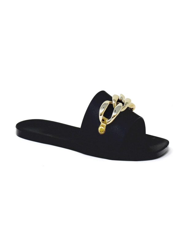 Flat Jelly Open Toe With Chain Upper Sandal