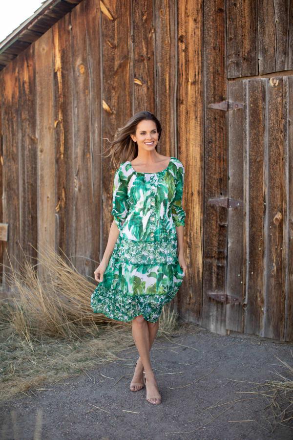 Alexa  Jade Fern Mixed Print Peasant Dress