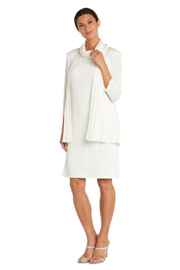 Two-Piece Cardigan Soft Turtle Neck Jacket Dress
