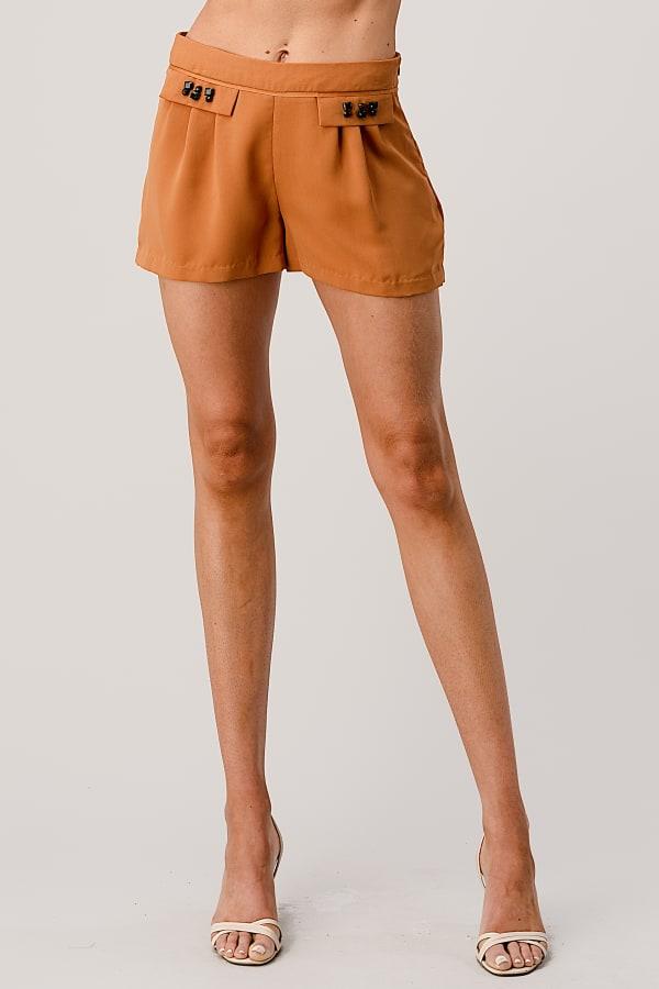 Kaii Rhine Stone Pocket Detail Shorts