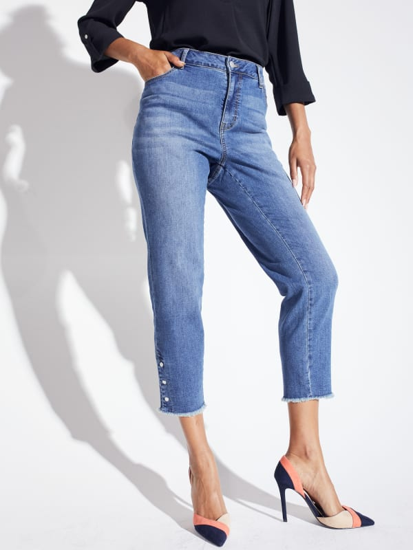 Westport Signature 5 Pocket Skinny Ankle Jean With Snap Button At Ankle