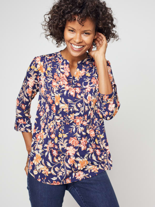 Roz & Ali Rust Floral Pintuck Popover