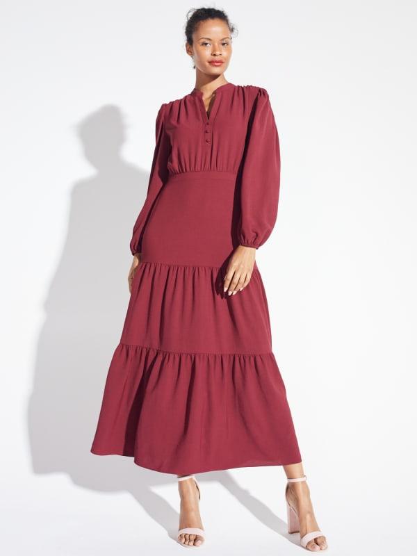Kim Wine Button Placket Dress