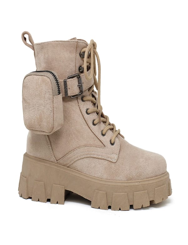 Santy Lace Up With Side Pouch Combat Boot