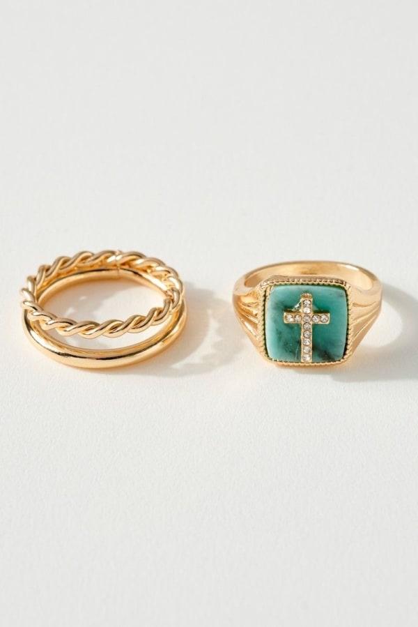 Cross CZ Ring Set