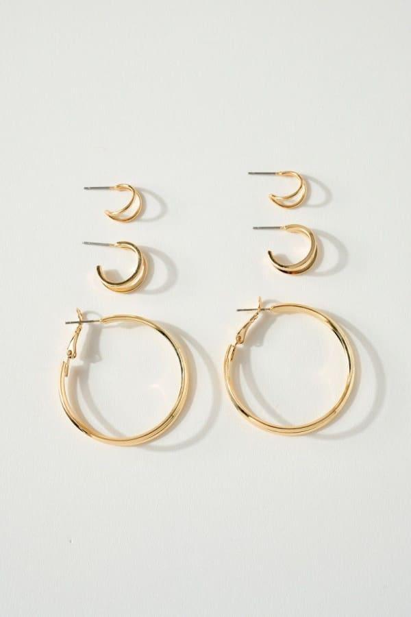 Set of 3 Pairs of Skinny Hoops Earrings