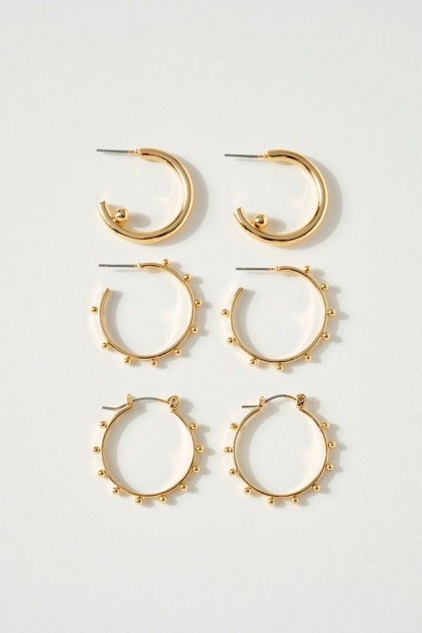Set of Three Unique Hoop Earrings
