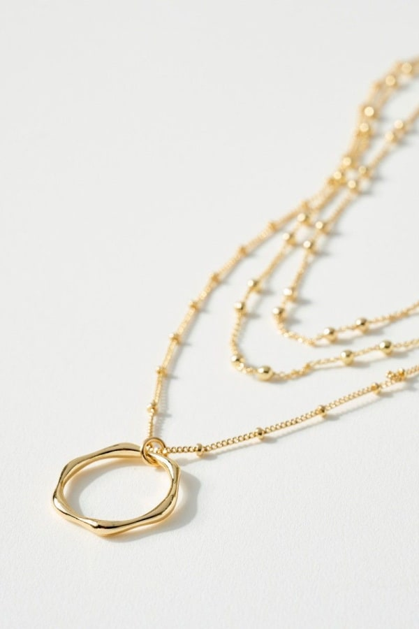 Round Ring Charm Triple Layered Necklace
