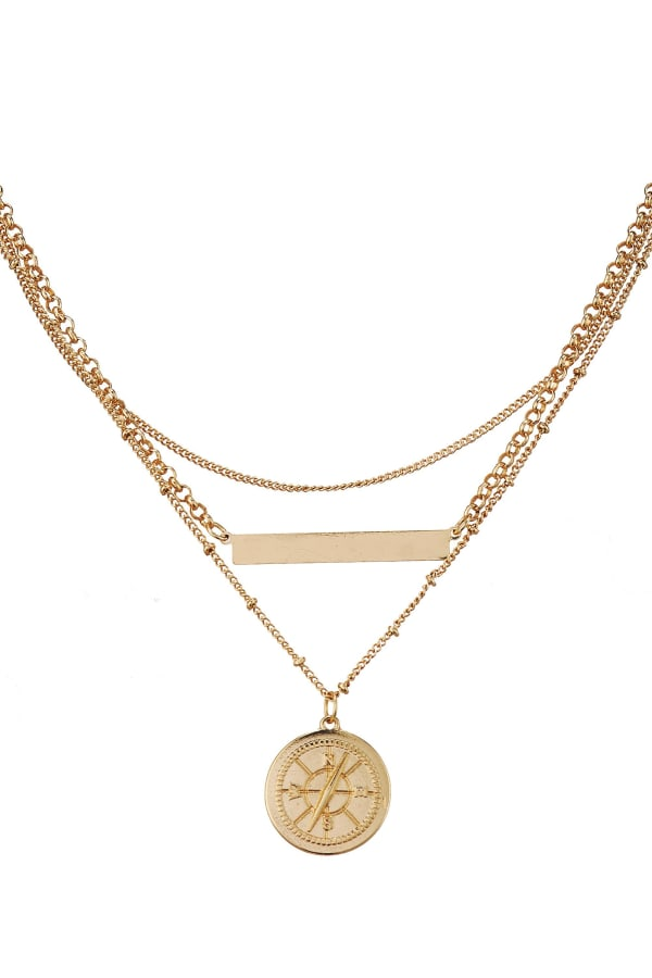 Compass and Bar Charm Layered Necklace
