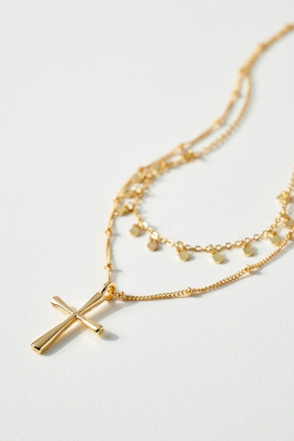 Double Chain Necklace with Cross and Disc Charms