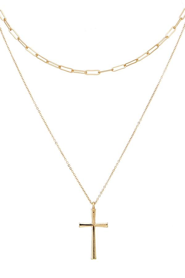 Simple Chain Layered Necklace with Cross Charm
