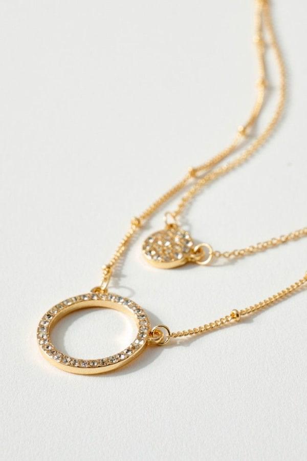 Double Layered Rhinestone Pave Charm Necklace
