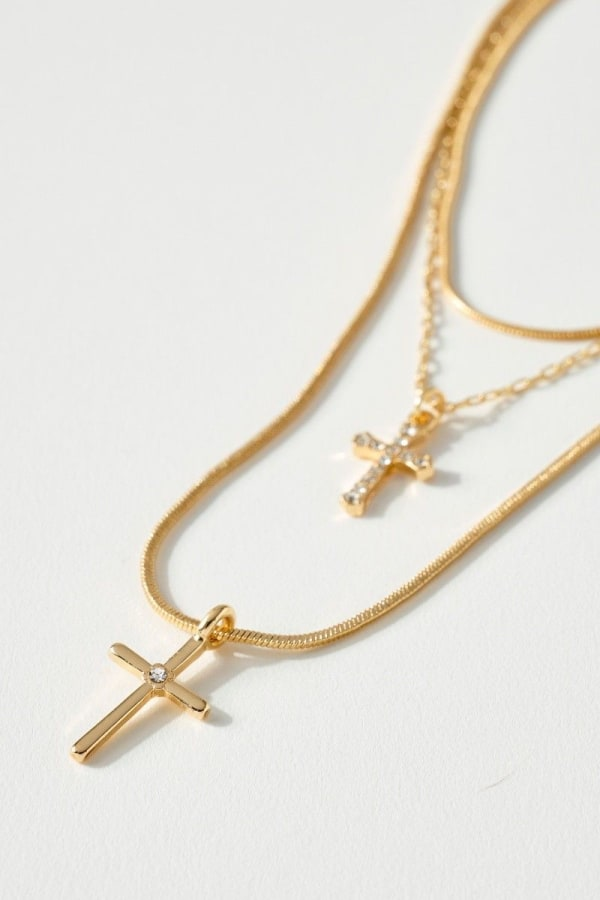 Cross Charm Triple Layered Necklace