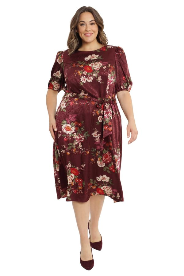 Deb Floral Pebble Jacquard Dress - Plus