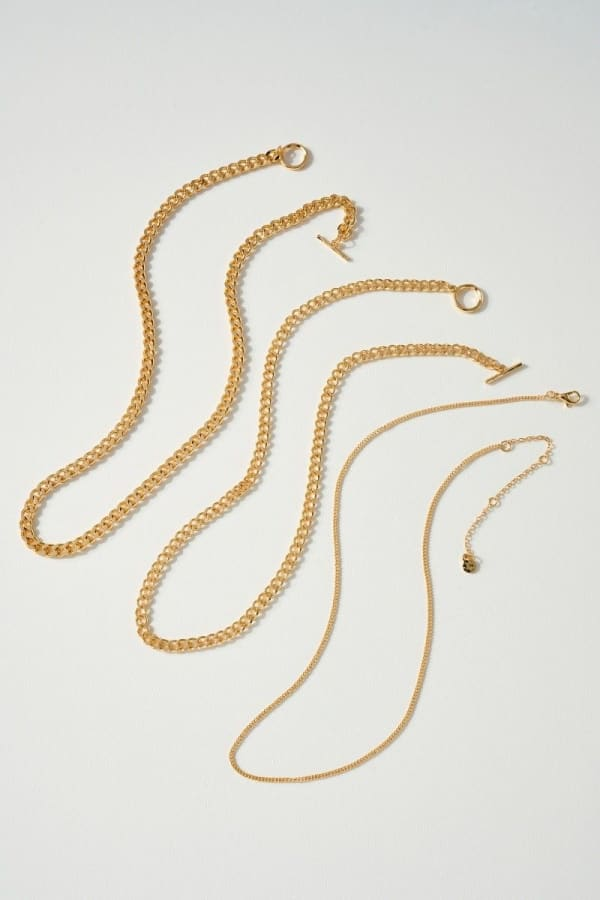 Set of Curb Chain and Simple Chain Necklaces