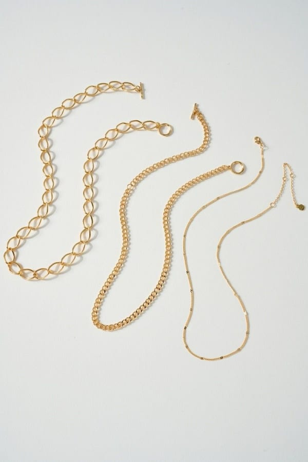 Set of Three Different Chain Necklace