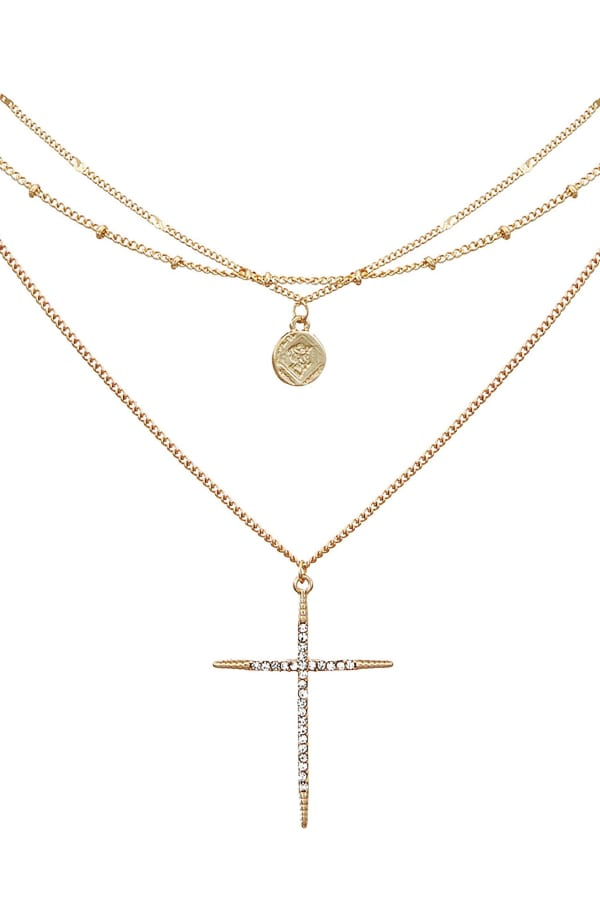 Set of Three Necklaces with Cross and Coin Charms