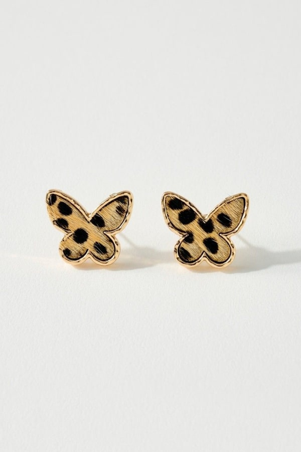 Animal Print Calf Hair Butterfly Post Earrings