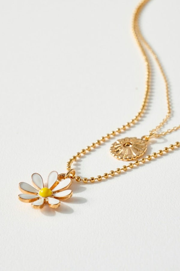 Floral and Disc Charm Double Layered Necklace