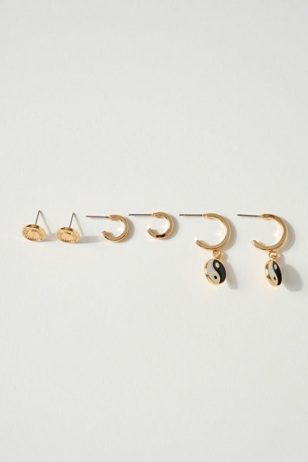 Set of 3 Pairs of Yin & Yang Theme Earrings