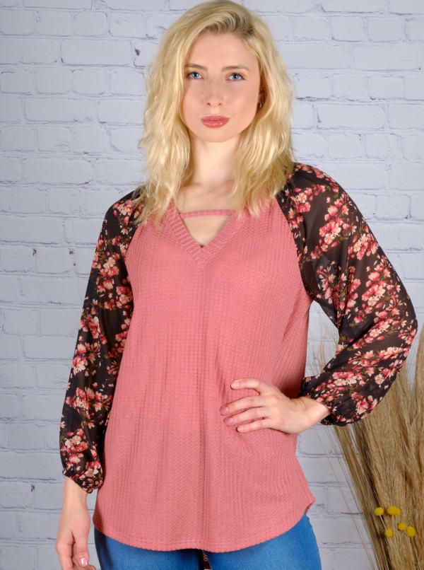 Westport Mauve Floral Mix Media Knit Top