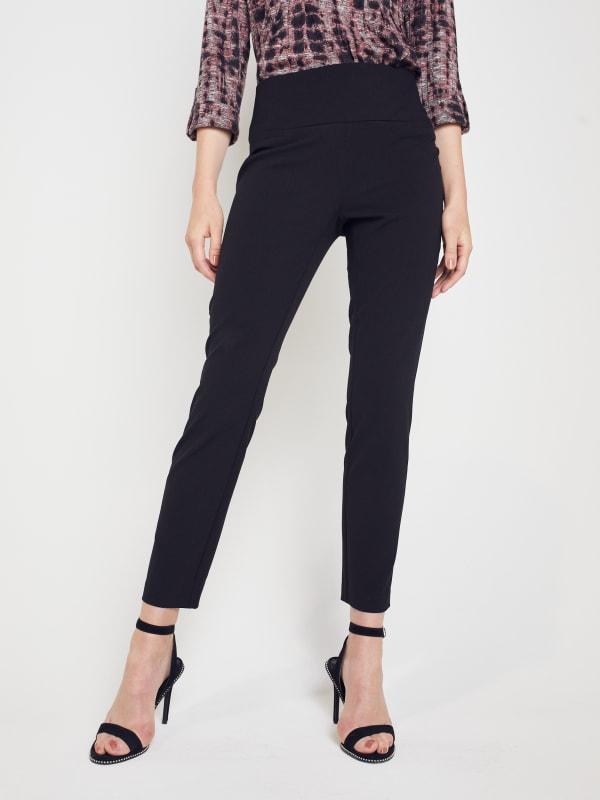Roz & Ali Secret Agent Slim Leg Wide Waistband Pants - Petite