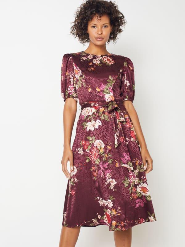 Deb Floral Pebble Jacquard Dress - Petite