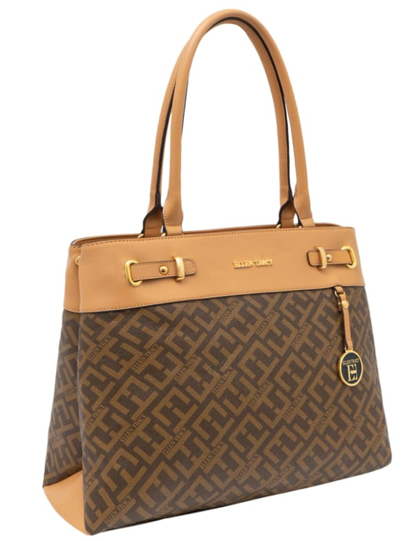 Ellen Tracy Signature Print Belted Stud Tote