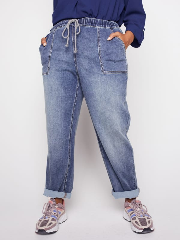 Knit Denim Weekender Sweatpants with Pocket and Drawstring Waist - Plus