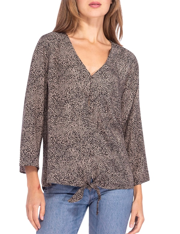 Lucille 3/4 Sleeve Tie Front Top