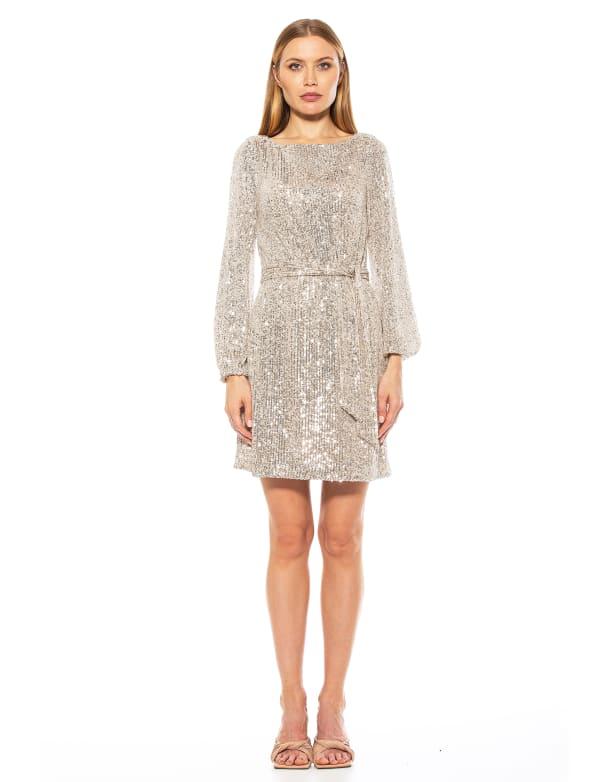 Val Velvet Tie Sequin Shift Dress