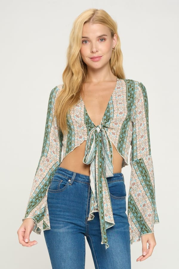 Tie Front Bell Sleeve Crop Tie Front Fashion Top