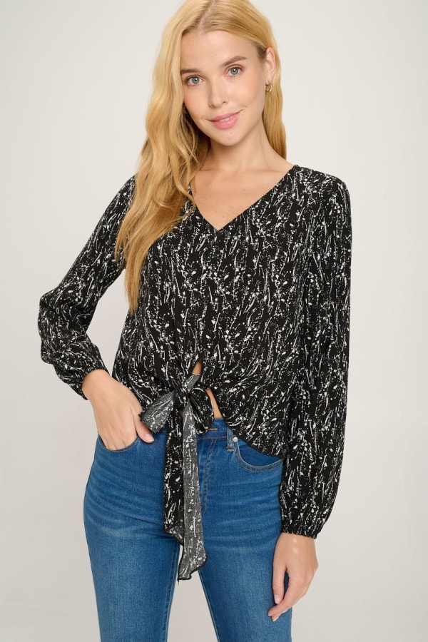 V Neck Long Sleeve Tie Front Pop Over Blouse Top
