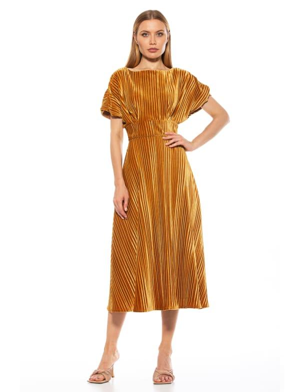 Short Sleeve Pleated Velvet Midi Dress