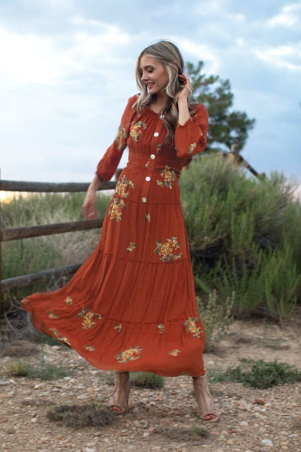 Veronica Embroidered Terracotta Peasant Dress