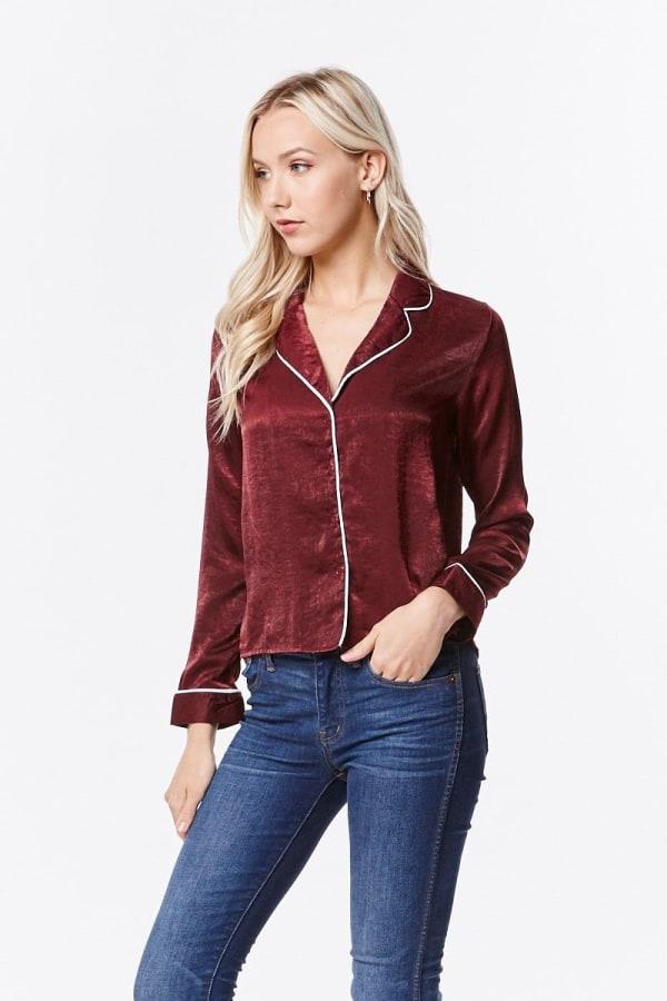 Women's Satin Pajama Shirt Top