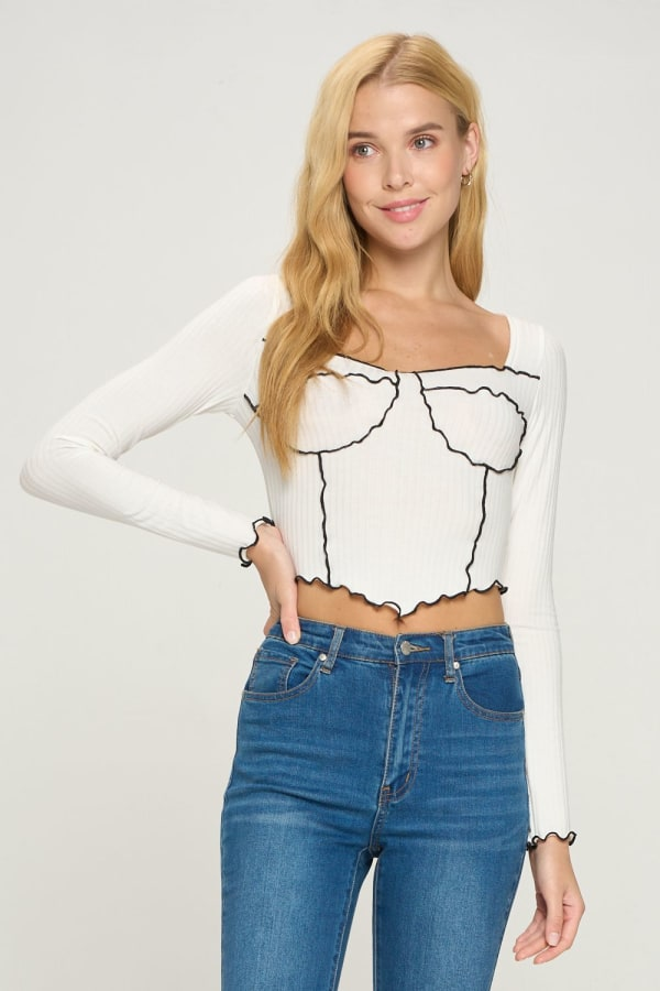 Bustier Style Long Sleeve Top
