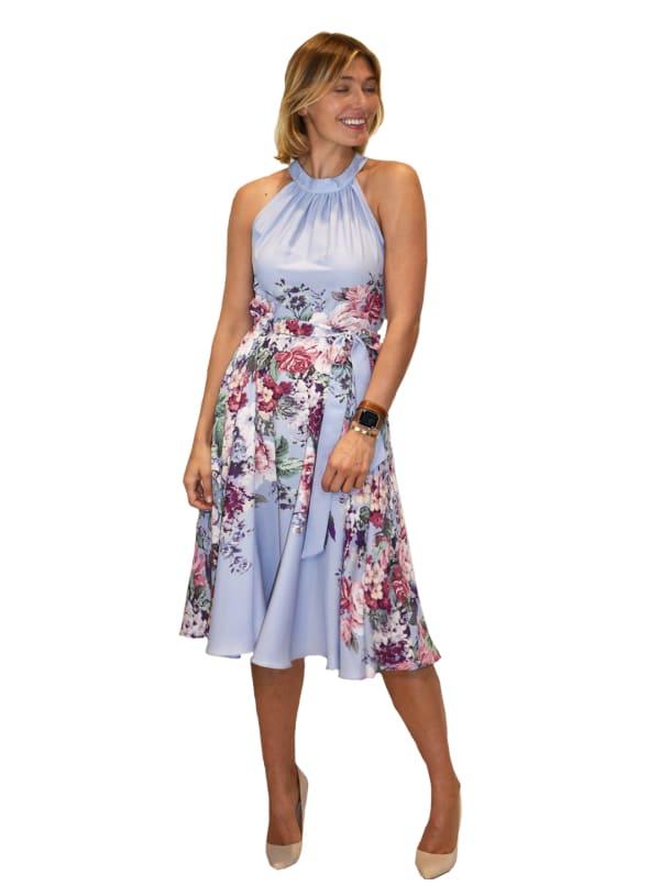 Hi Neck Floral Dress